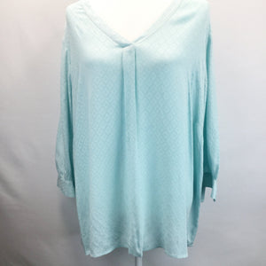 APPAREL,TOPS - TALBOTS AQUA LIGHTWEIGHT LONG SLEEVE TOP. HAS A NICE PATTERN ON THE ENTIRE TOP.