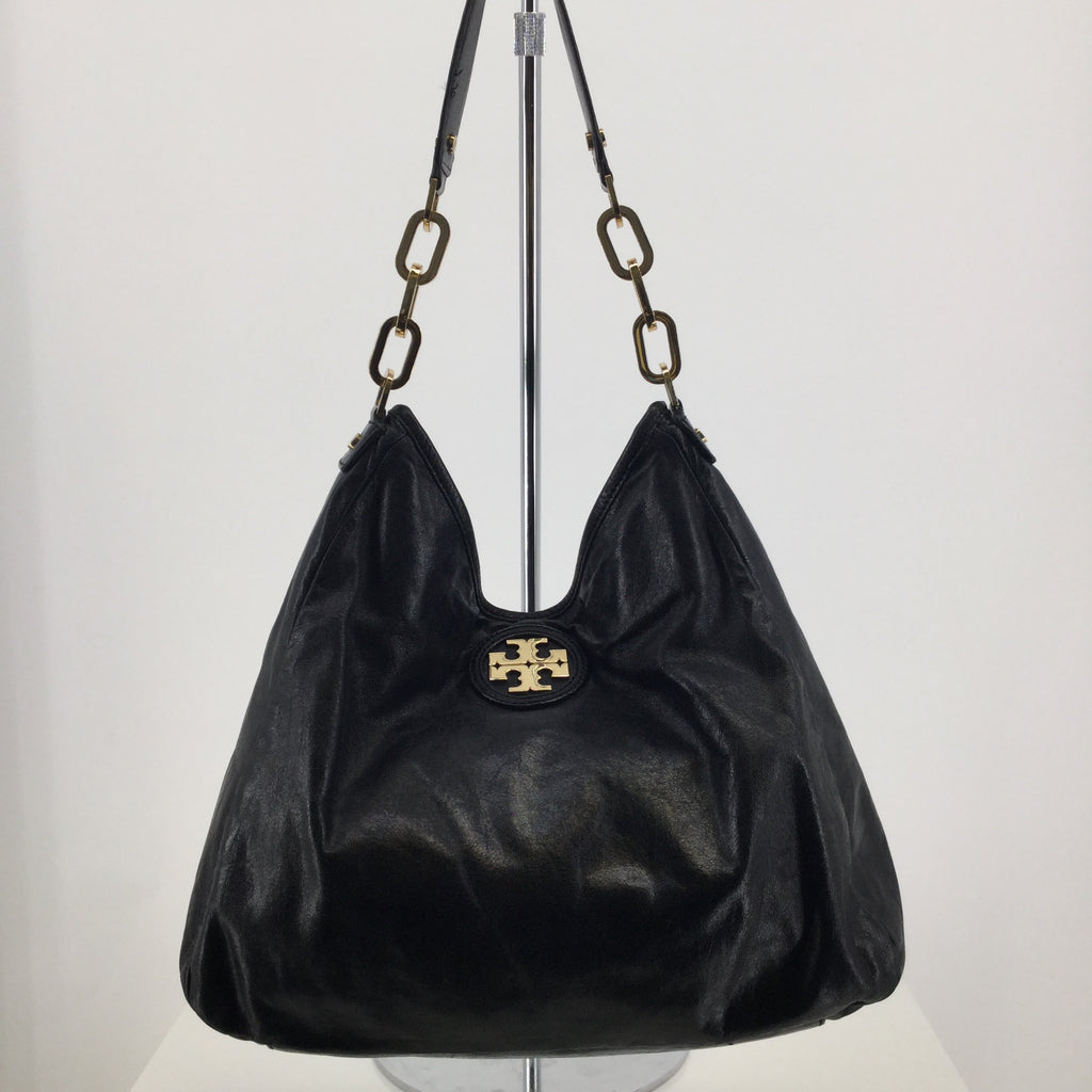 Tory Burch Black Leather Designer Handbag