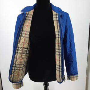 APPAREL,OUTERWEAR - INDIGO BLUE QUILTED, ZIP UP JACKET WITH ICONIC CHECK INTERIOR.