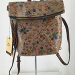 PATRICIA NASH HANDBAG SIZE:LARGE - MINI MEADOWS LUZILLE CONVERTIBLE LEATHER BACKPACKA WILDFLOWER PRINT COVERS A HANDS-FREE SILHOUETTE ON THE BEYOND-GORGEOUS PATRICIA NASH MINI MEADOWS LUZILLE CONVERTIBLE BACKPACK.SMALL SIZED BAG; 10