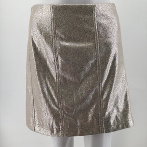 Free People Skirt Size12 - THIS FREE PEOPLE METALLIC SKIRT IS THE PERFECT SPARKLY ADDITION TO YOUR CLOSET. IT IS LINED WITH A SIDE ZIP CLOSURE AND A SIZE 12. IT IS NEW WITH TAGS!