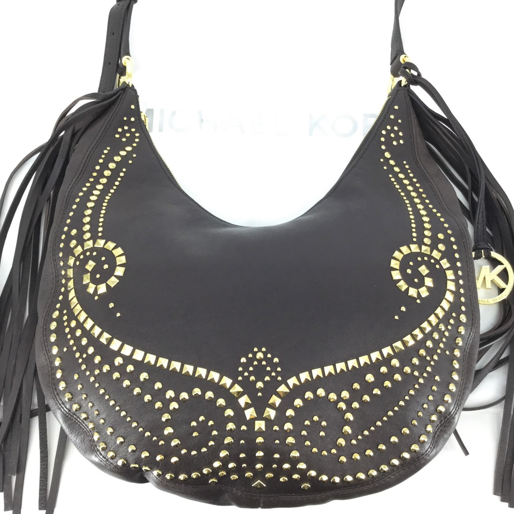 MICHAEL KORS RHEA LEATHER STUDDED HOBO CROSSBODY