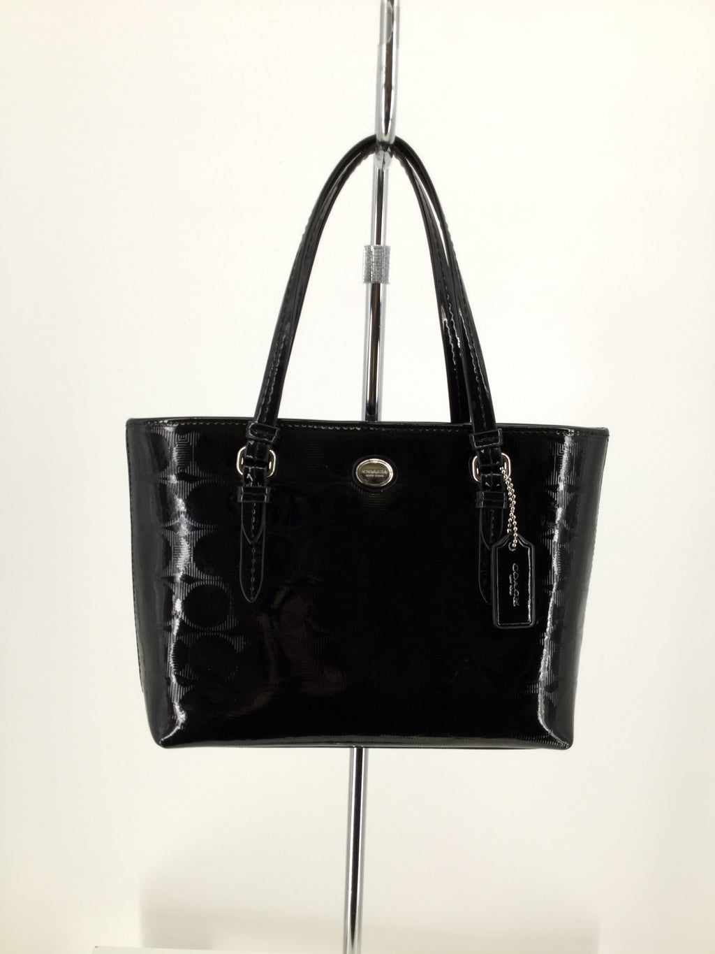 Small Black Patent Leather Coach Handbag