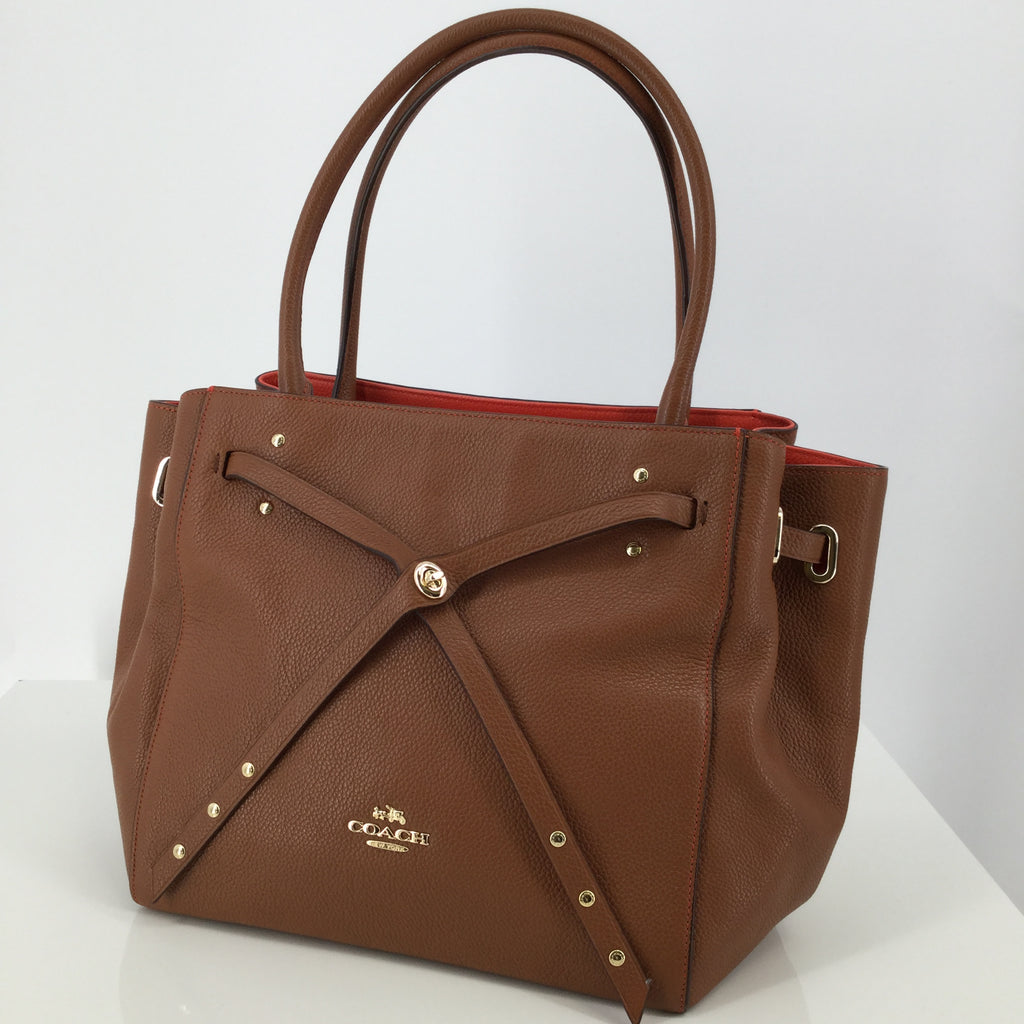 Coach Designer Handbag, Leather, Caramel, Size: Medium