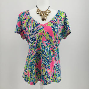APPAREL,TOPS - PINK, BLUE, GREEN, YELLOW AND WHITE ISLAND PATTERN