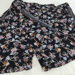 APPAREL,BOTTOMS - BLACK JOGGER STYLE PANTS WITH FLORAL PATTERN AND STRIPES DOWN THE SIDES.
