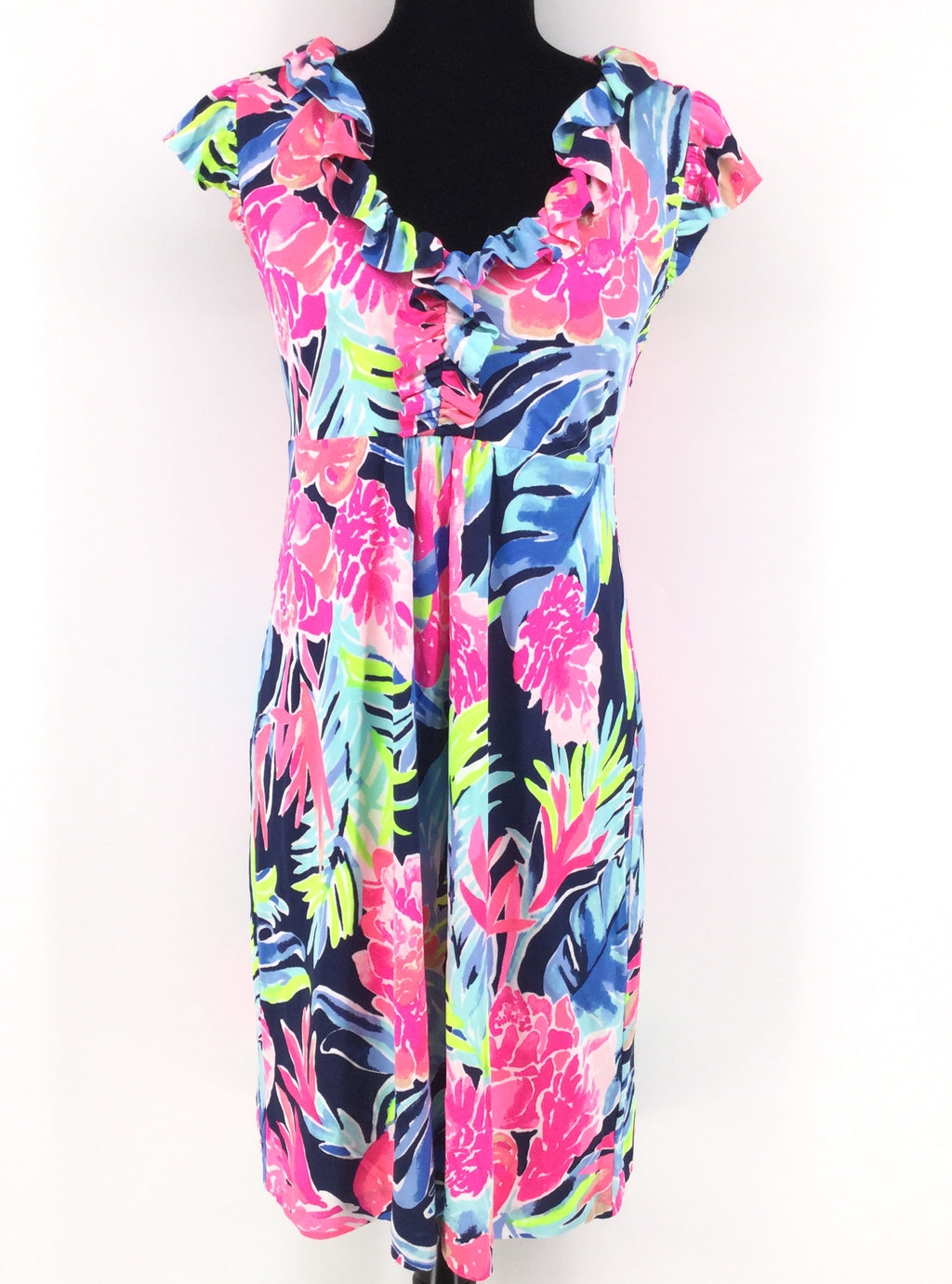 Bright Multi Colored Floral Lilly Pulitzer Dress Size:m