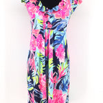 Bright Multi Colored Floral Lilly Pulitzer Dress Size:m - BRIGHT COLORED FLORAL LILLY PULITZER DRESS IN A SIZE MEDIUM. RUFFLED DETAIL AROUND THE NECK OF THE DRESS AS WELL AS A RUFFLED CAP-SLEEVE EFFECT. DRESS IS IN LIKE NEW CONDITION.