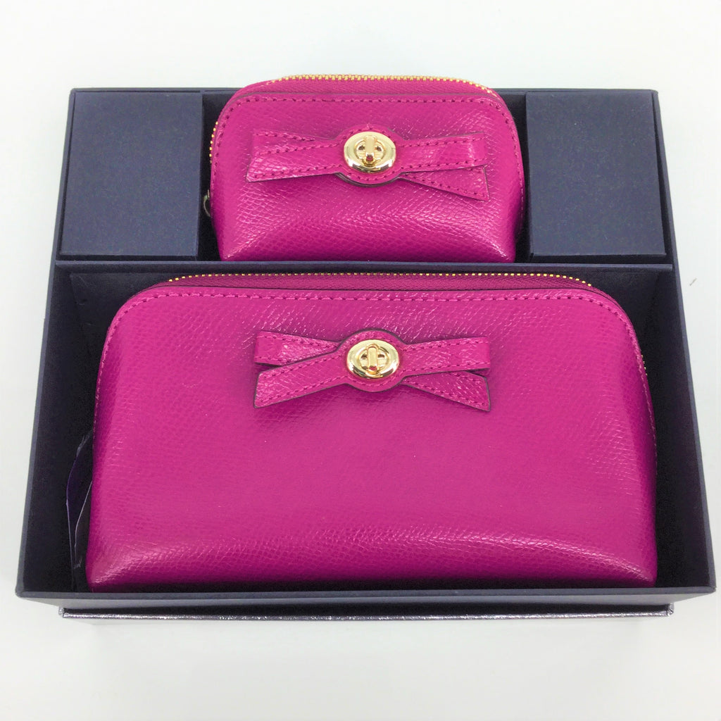 NEW COACH TURNLOCK BOW COSMETIC CASE SET