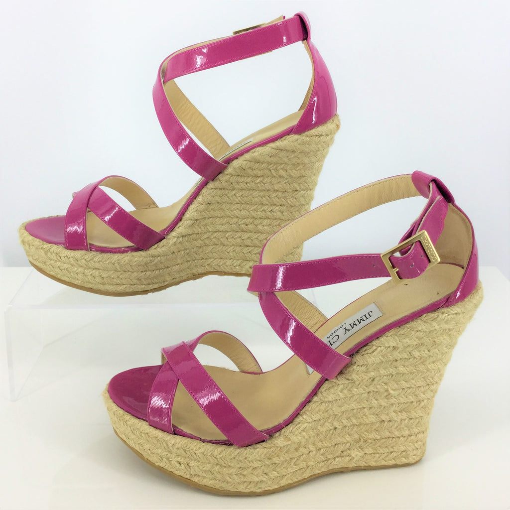 JIMMY CHOO PORTO WEDGE SANDALS SIZE:8.5