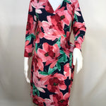 Charles Henry Dress Short Ls Size:l - CHARLES HENRY FLORAL LONG SLEEVE WRAP DRESS WITH PINK AND GREEN FLOWERS ATOP A NAVY BACKGROUND. SIZE LARGE