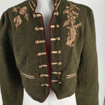 Free People Jacket Outdoor Size:l - EMBROIDERED MILITARY STYLE OPEN JACKET, NEW WITH TAGS FROM FREE PEOPLE.  ORIGINAL PRICE $168.00!  THE GOLD EMBROIDERY DETAIL IS ON BOTH THE FRONT AND BACK OF THIS GARMENT.  EXTRA MILITARY STYLE DETAILS ON THE CUFFS.  THE INTERIOR LINING IS IN RED PLAID.