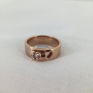 JEWELRY, - ROSE GOLD RING WITH DIAMOND HEART ACCENT. SIZE 8