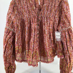 Free People Top Ls Size:m - FUN AND FUNKY FREE PEOPLE TOP.GREAT FALL COLORS! TREE AND LEAF PATTERN.  CINCH AND FLARE SLEEVES.NWT!  DON'T MISS OUT ON THIS GREAT TOP AT A GREAT PRICE!