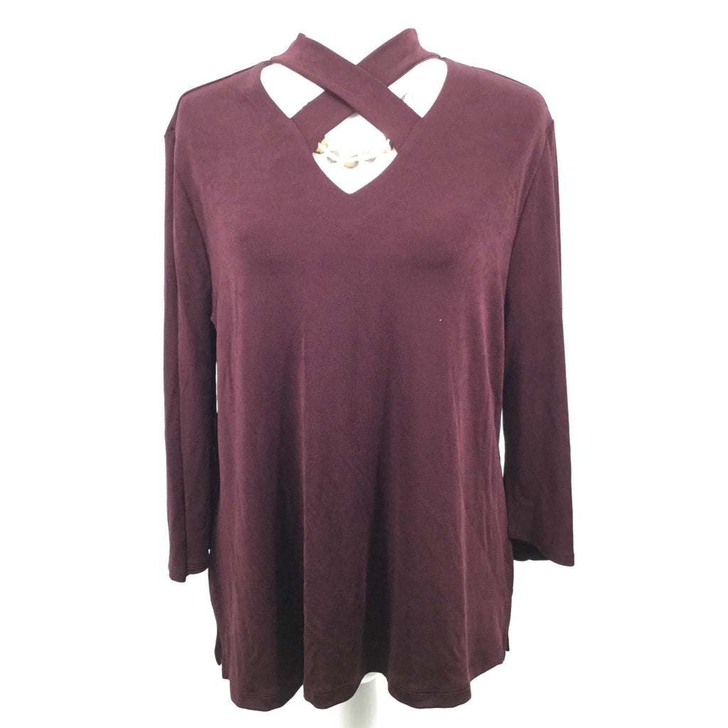 CHICOS  TRAVELERS BURGUNDY TOP LS SIZE 2
