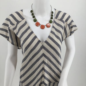 APPAREL,DRESSWEAR - BLUE AND CREAM STRIPED SHORT SLEEVED DRESS 60% LINEN NEW WITH TAGS!