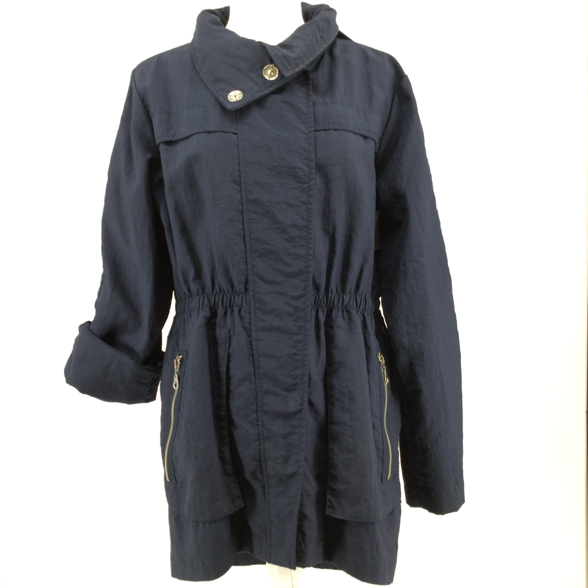 APPAREL,OUTERWEAR - NAVY ZIP-UP AND SNAP FRONT JACKET WITH HOOD.