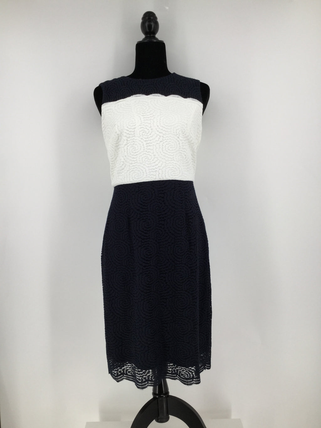 Karl Lagerfeld ShortnSleeveless Dress, Blue, White, Size:6