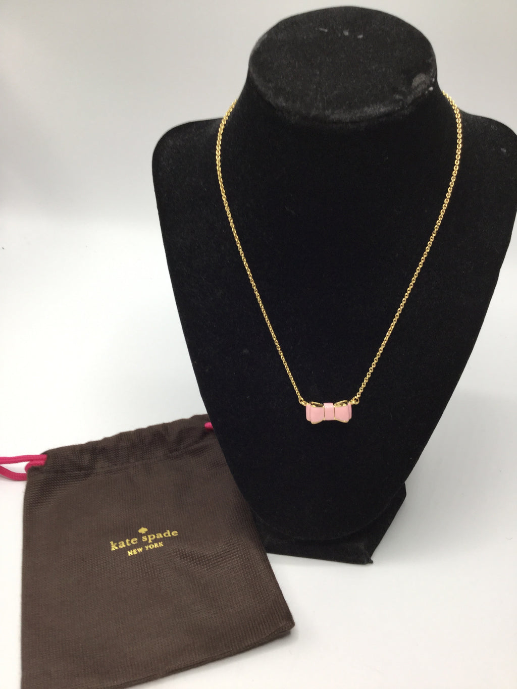 Kate Spade Moon River Pink Bow Necklace, NWT!