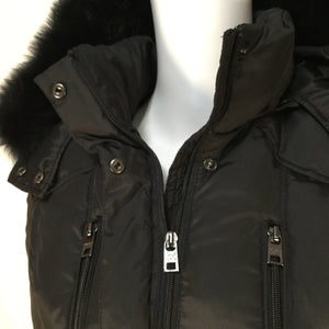 Marc New York Coat Long Size:xs - BLACK DOWN FILLED COAT WITH FUR TRIM HOOD AND 4 EXTERIOR POCKETS WITH 1 INTERIOR POCKET