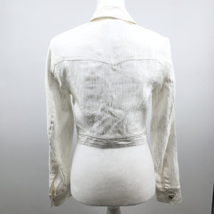 Versace white jacket - NEW WITH TAGS! WHITE CROP JACKET,SIZE MED,DETAIL VERASCE EMBLEM BUTTONS. PC# 812415.
