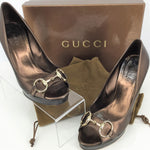 Gucci Shoes High Heel Size:7 - BEAUTIFUL BRONZE OPEN TOE SAND PELLE S CUOIO HEELS BY GUCCI. HAS SOME NORMAL WEAR BUT LEATHER IN GREAT CONDITION. GOLD HARDWARE. COMES WITH ORIGINAL BOX AND DUST BAGS.
