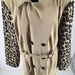 Ashley Stewart Jacket Outdoor Size:1x - KHAKI TRENCHANIMAL PRINT SLEEVESDOUBLE BREASTED BUTTONSBELTED AT WAIST