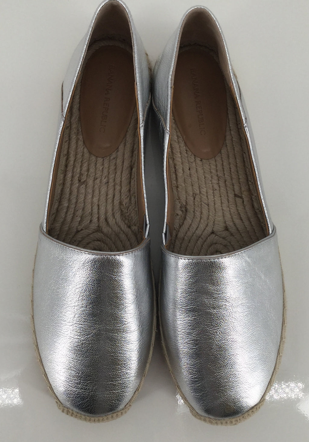 Banana Republic Metallic Silver Flats Size 9.5