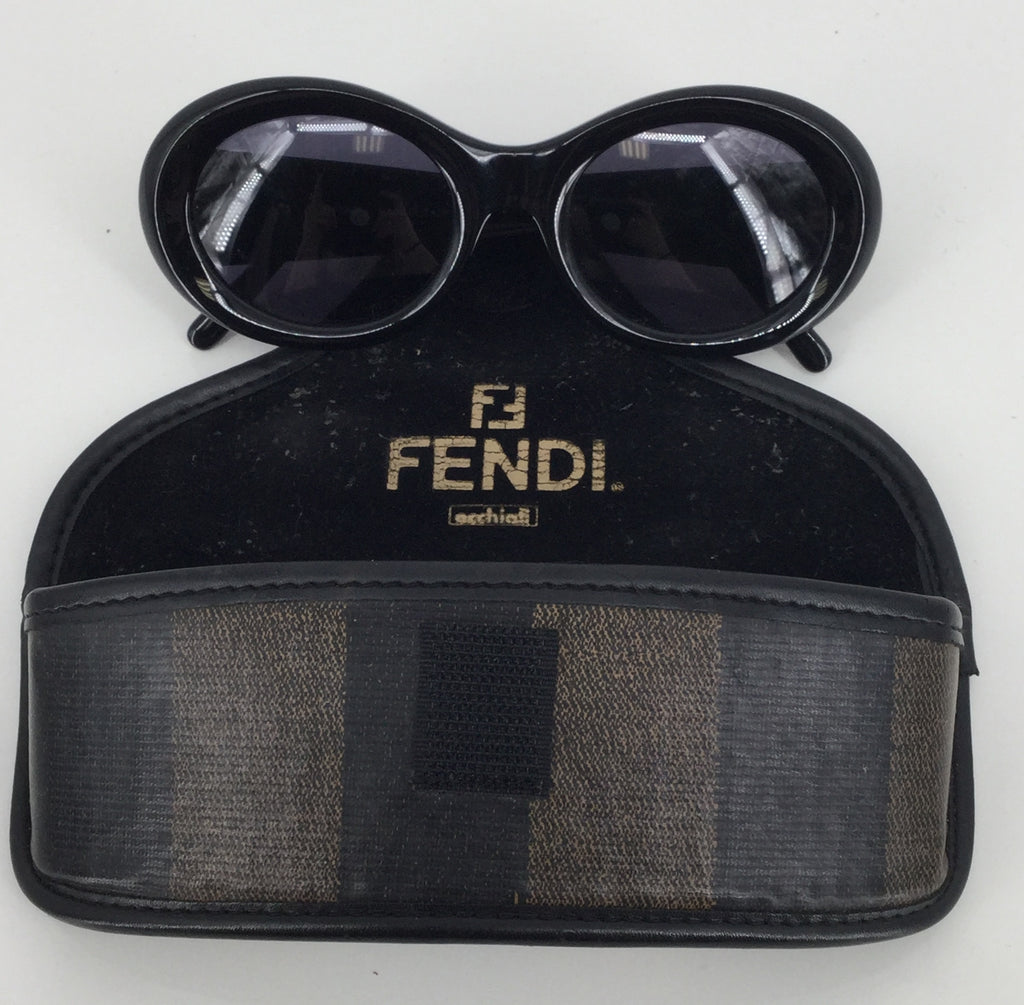Fendi Black Oval Sunglasses