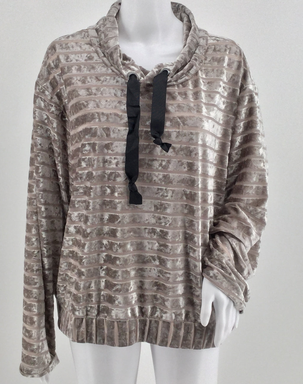 Gypsies And Moondust Silver Velvet And Mesh Long Sleeve Top Size Xl