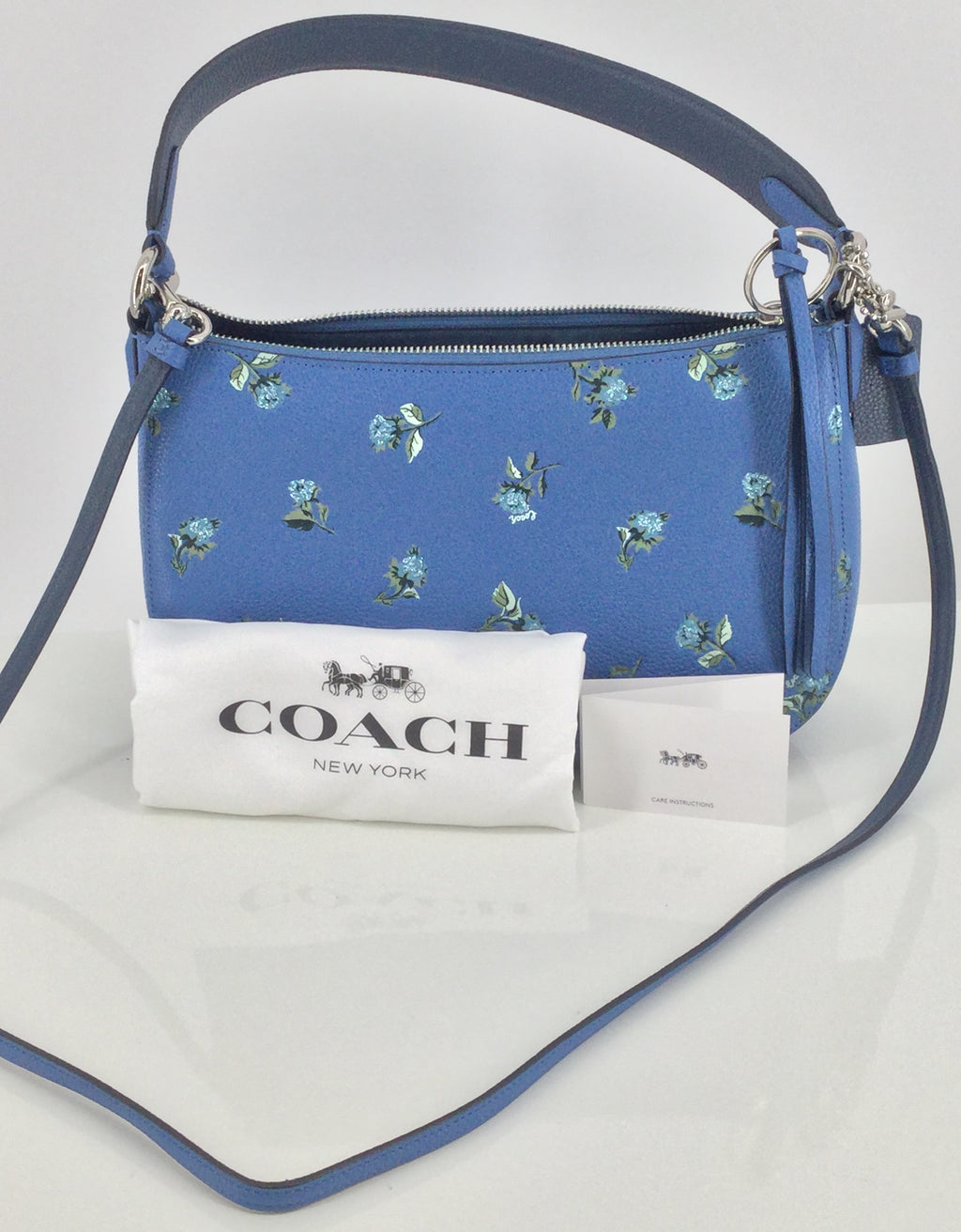 Coach Blue Floral Crossbody Handbag