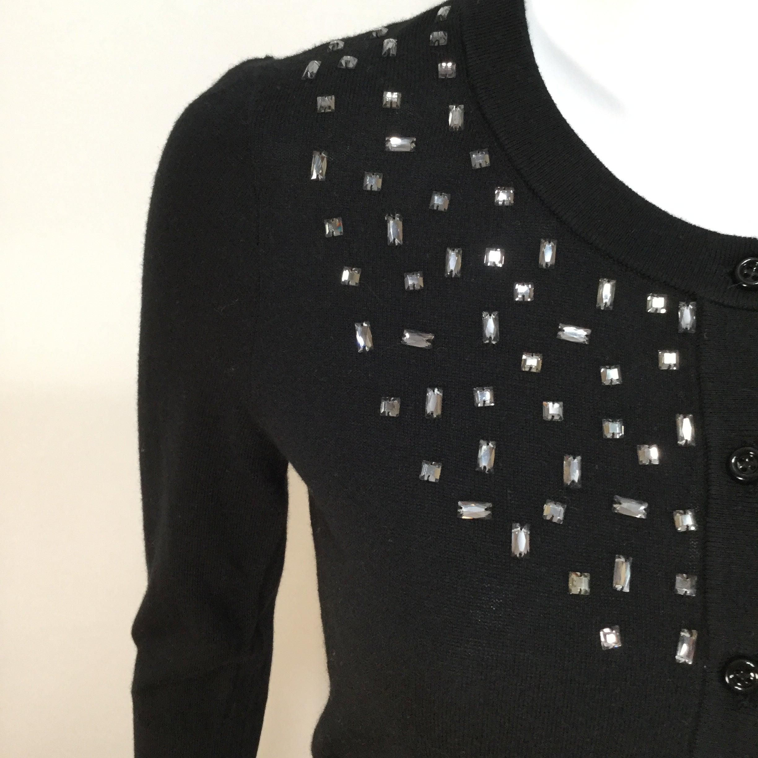 Kate Spade Cardigan size S - BLACK CARDIGAN WITH GEM DETAIL. LIKE NEW WITH EXTRA BUTTONS. SIZE SMALL