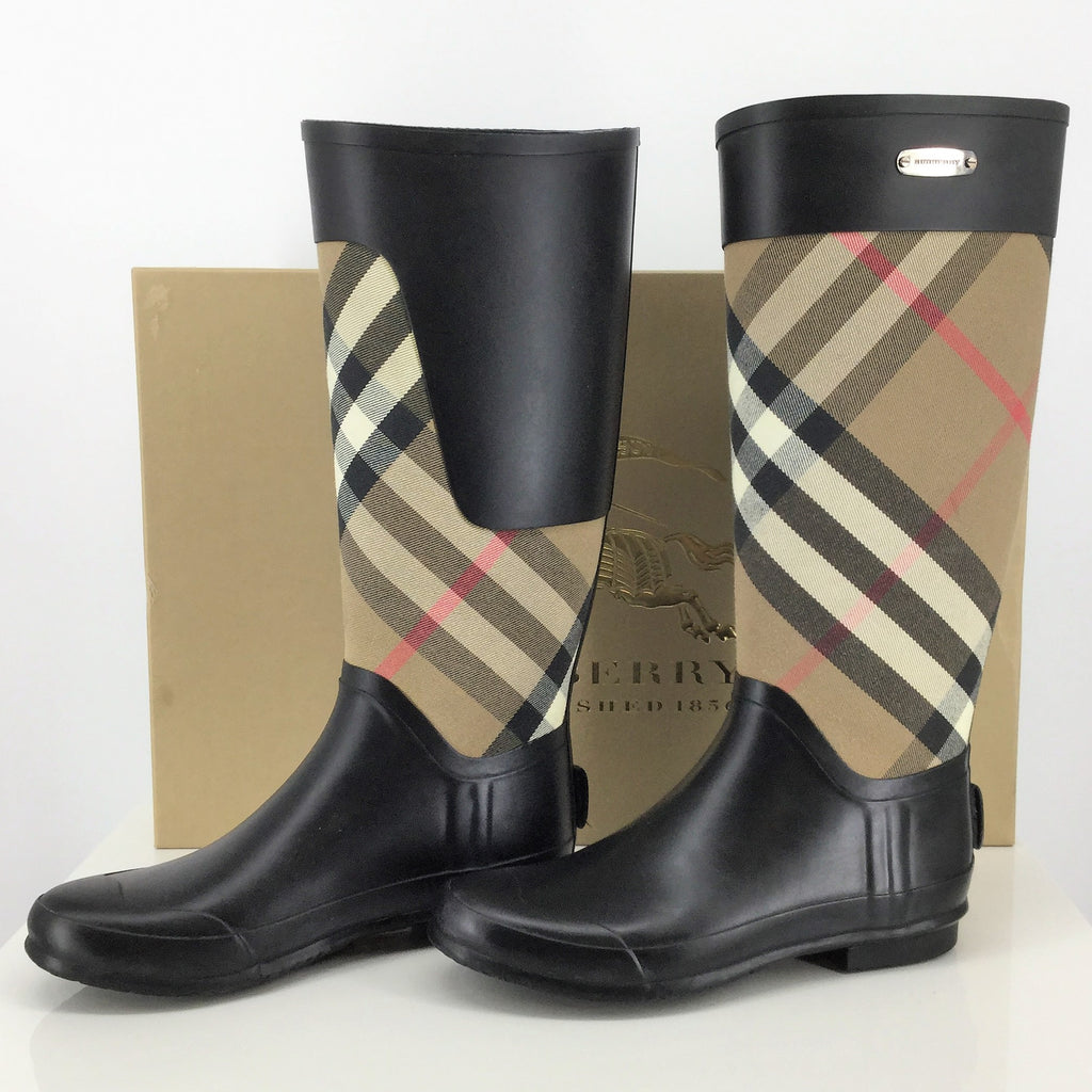 BURBERRY CLEMENCE CHECK CANVAS RAIN BOOTS SIZE:39