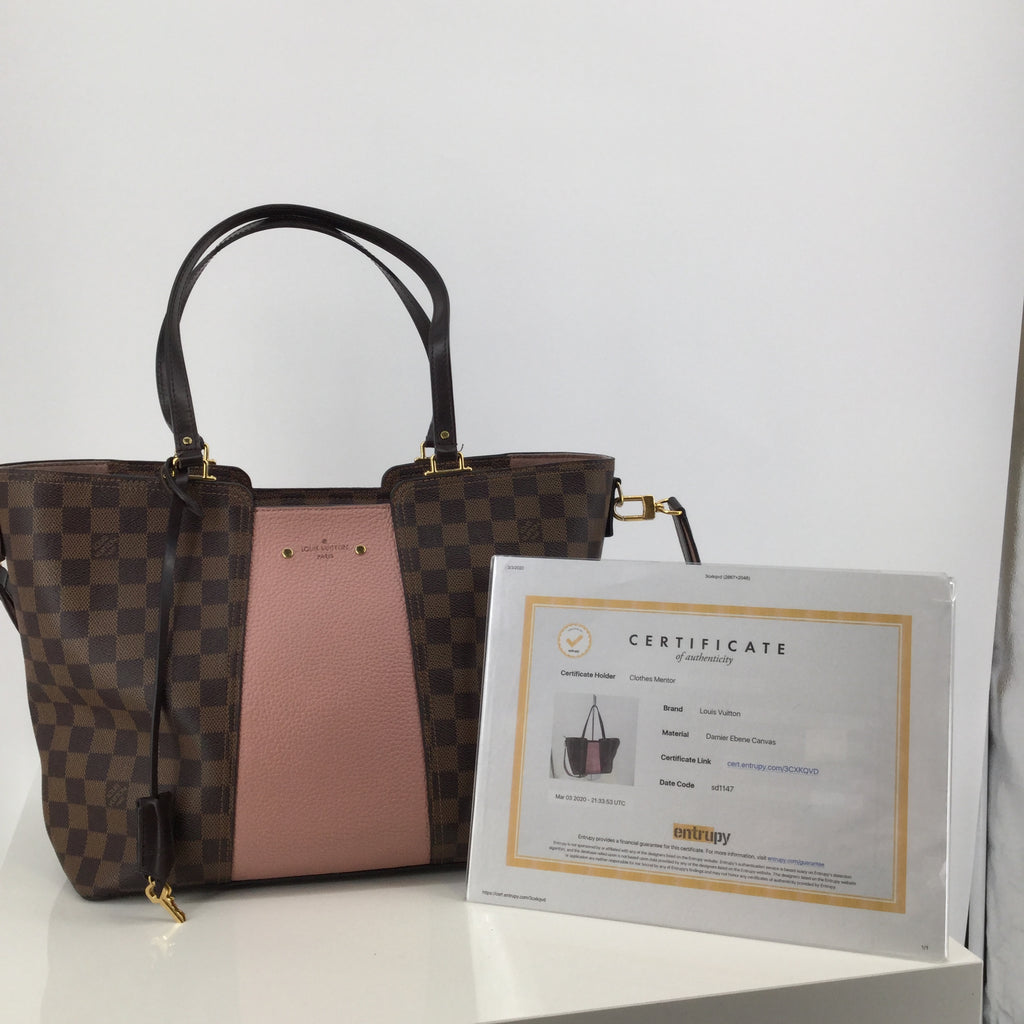 Louis Vuitton Brown Leather Ebene Jersey Magnolia Tote