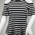 null,null - BLACK AND WHITE STRIPEDTANK STYLE WITH COLD SHOULDERSLIGHT RUFFLE STYLES ON SLEEVES AND BOTTON OF TOPNWT