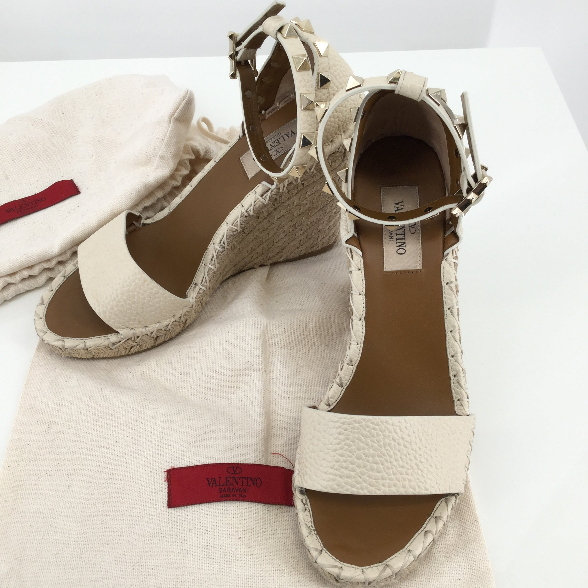 Valentino Studded Wedge Sandals, Size 6 - VALENTINO ROCKSTUD ESPADRILLE WEDGE SANDAL. SIZE 36. COLOR BEIGE. SOME MINOR CONDITION ON TOP AND BOTTOM OF SHOE. ON BERGDORF GOODMAN AND NORDSTROM SITE RIGHT NOW FOR $795!.