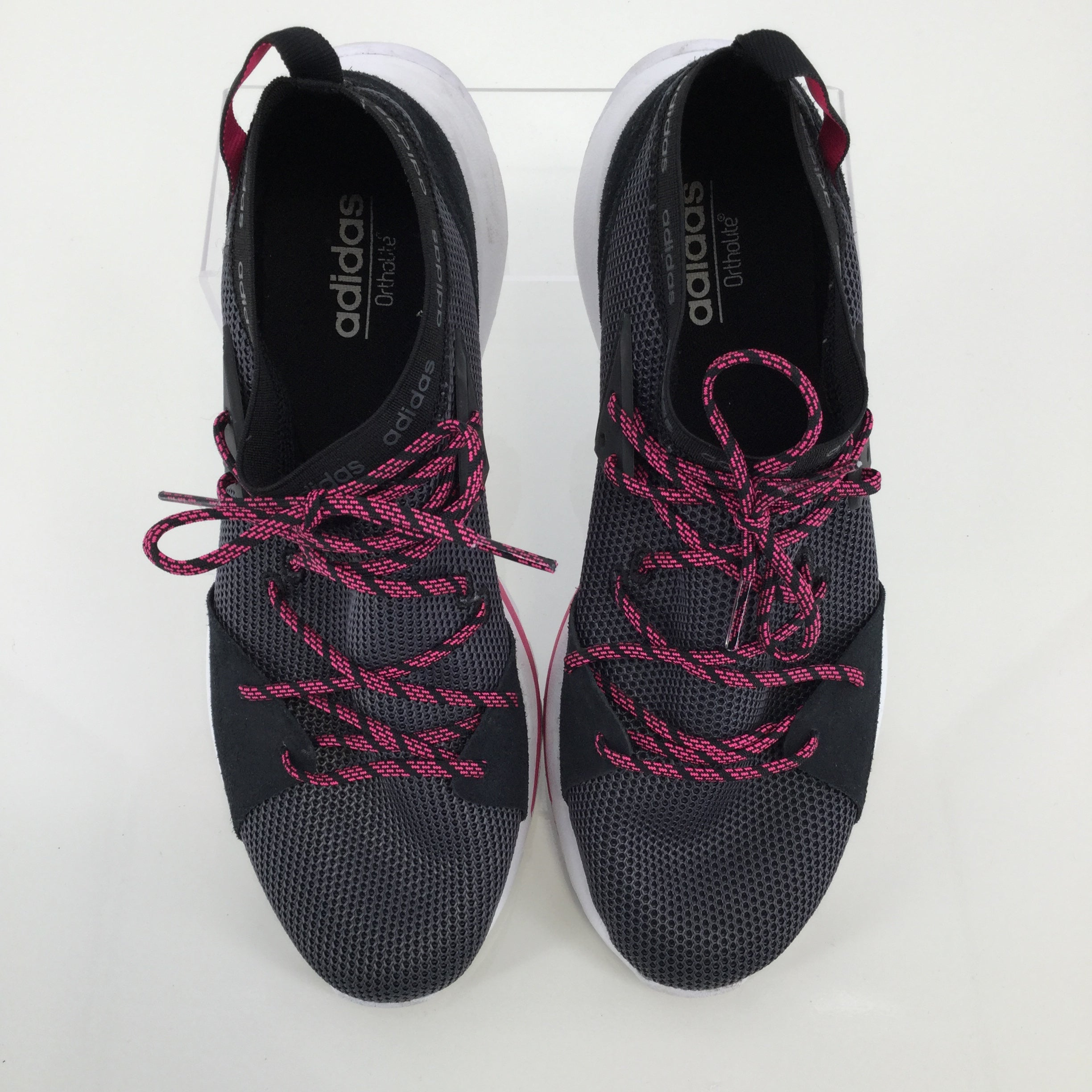 SHOES, - ADIDAS ATHLETIC ORTHOLITE SLIP ON SHOES. WOMEN'S SIZE 9. BLACK WITH PINK/BLACK LACES. STRETCHY MESH UPPER.