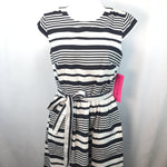 APPAREL,DRESSWEAR - WHITE WITH BLUE STRIPES, TIE WAIST, ZIP BACK, WITH POCKETS!TAGS ATTACHED