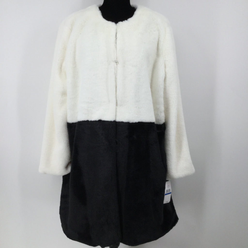 Fever Long Coat, Faux Fur, Black and off White, Size XL