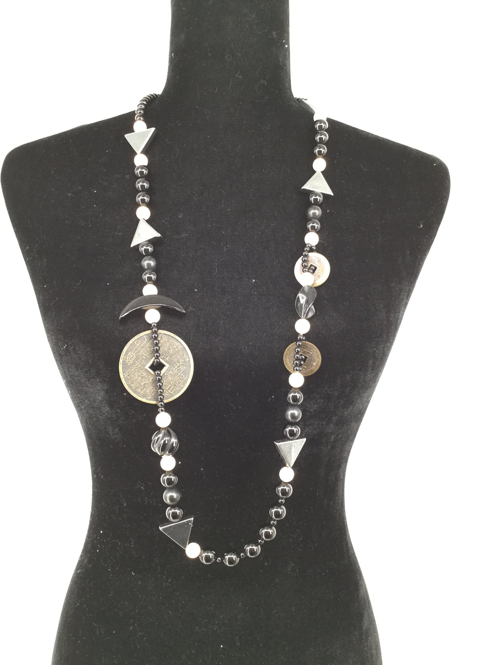NEW! Onyx, Ivory, and Hematite Long BlackNecklace