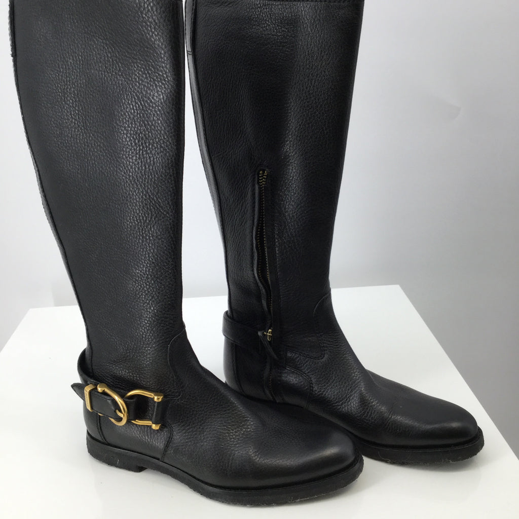 Burberry Black Leather Boots Leather Lining Size 6.5