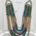 STELLA AND DOT  NECKLACE - MULTI COLORED STELLA AND DOT LAYERED NECKLACE. GOLD WITH MANY SHADES OF BLUES, GREENS AND PINKS. INCLUDES BOX.