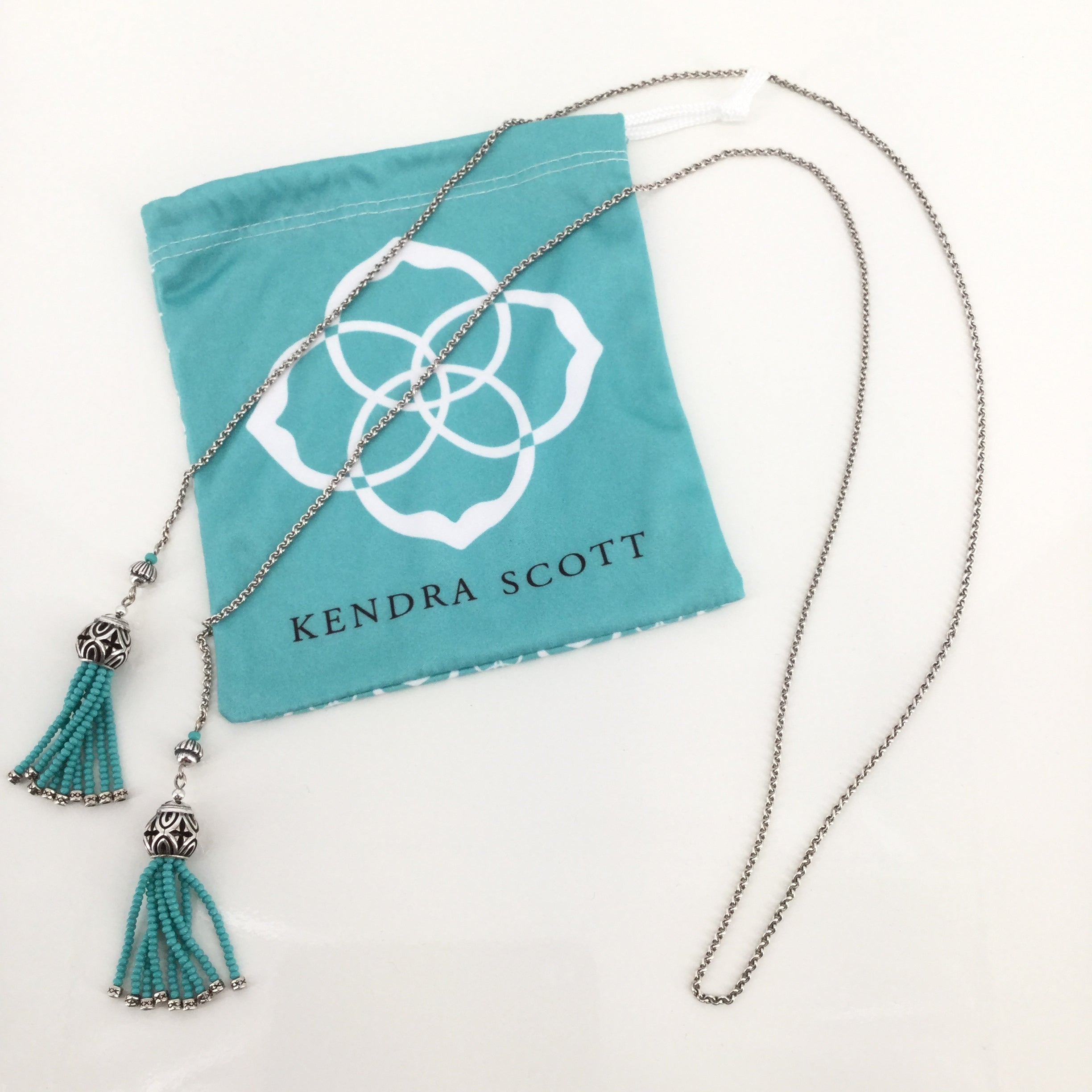 JEWELRY, - TURQUOISE WRAP NECKLACE SILVER CHAIN AND BALL DUST BAG INCLUDED