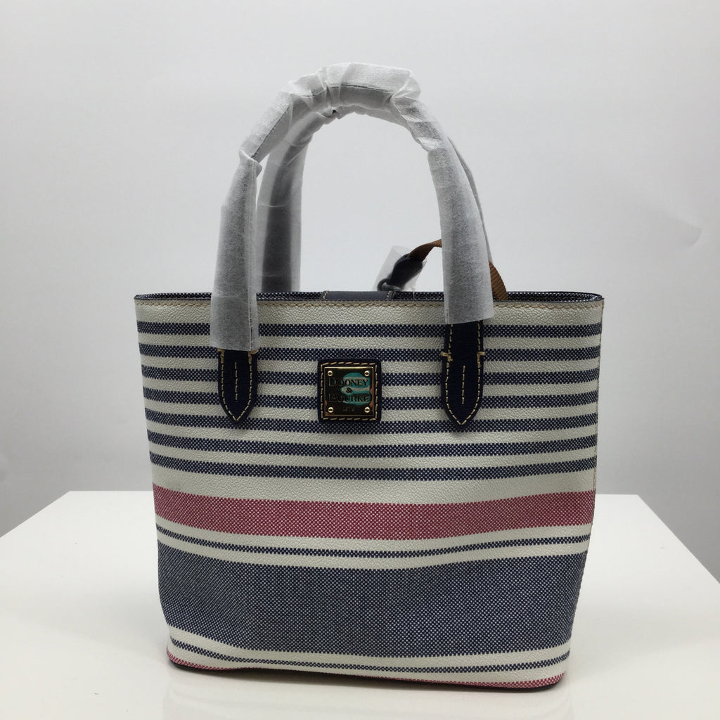 Dooney And Bourke Handbag, Leather, Blue, White, and Red, Small
