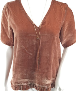 APPAREL,TOPS - MADEWELL AMAZING PLUSH VELVET DUSTY ROSE COLOR TOP.