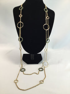 JEWELRY, - LONG GOLD CHAIN WITH GOLD AND OLIVE CIRCLES THROUGHOUT.