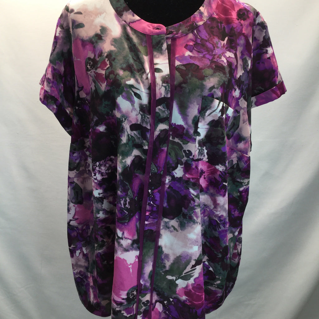 SIMPLY VERA Floral Short Sleeve Top Size 2X