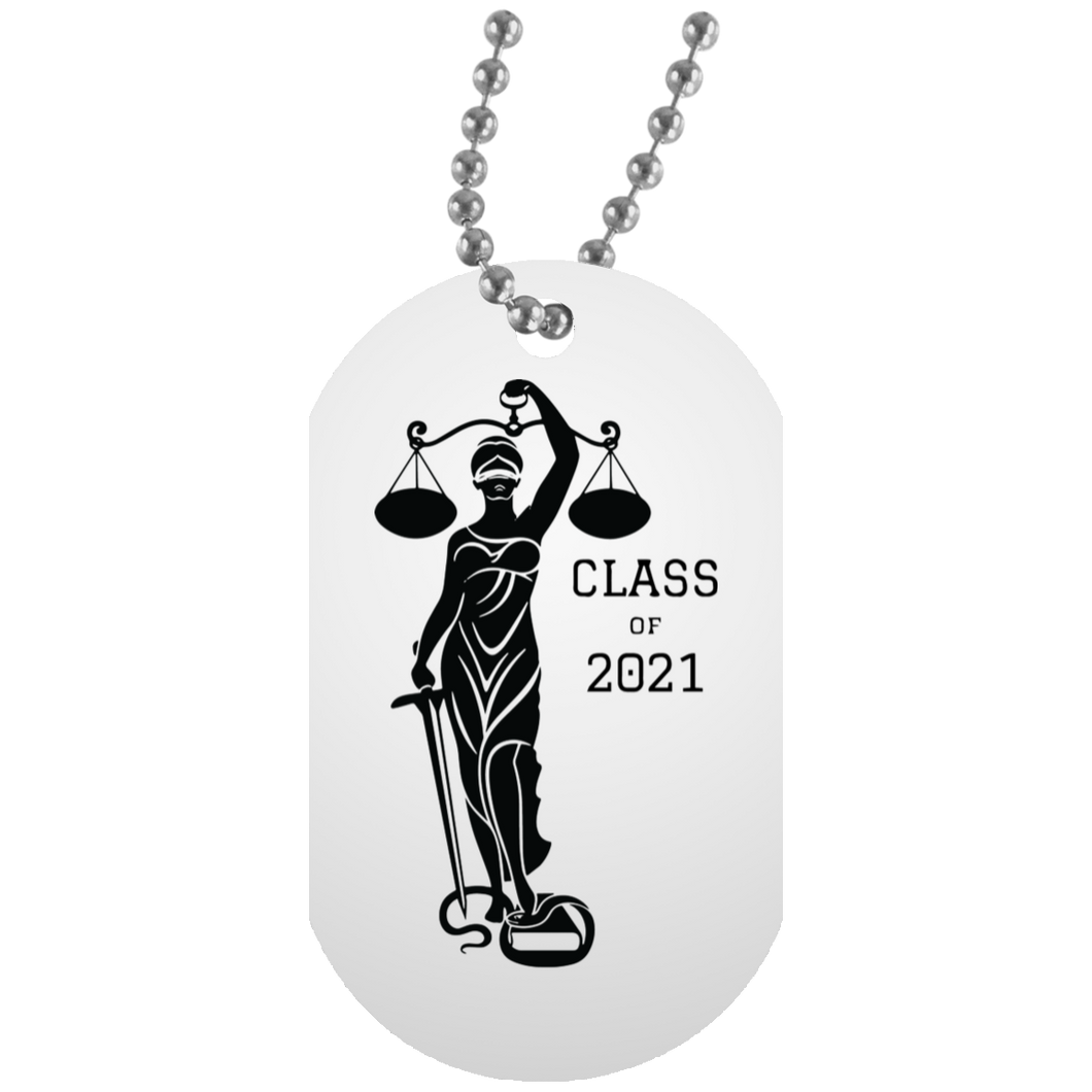 Justice Class of 2021 White Dog Tag