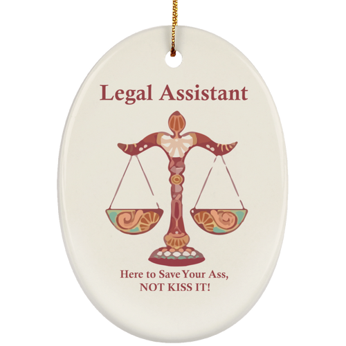 Assistant Kiss! Ceramic Oval Ornament