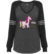 Load image into Gallery viewer, Real Unicorns Ladies' LS V-Neck T-Shirt